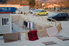 Norcia, Italy.  Station of assistance after the earthquake Royalty Free Stock Images