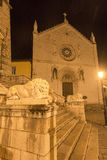 Norcia by night. Norcia (Perugia, Umbria, Italy): the main square, with the medieval Palazzo del Comune, by night Stock Images
