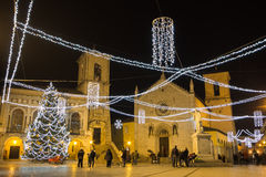 Norcia square with christmas tree and lights. Stock Images
