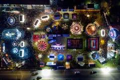 NORCO СПРАВЕДЛИВОЕ - съемка nighttime воздушная местной ярмарки в Pottstown, Пенсильвании Стоковые Фото