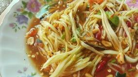 Nordöstra thailändsk traditionell kryddig papayasallad Royaltyfri Fotografi