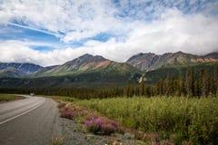 Nord av den Haines Junction överskriften in mot det Kluane sjöYukon territoriet Kanada Royaltyfri Foto