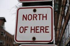 Nord av här trafiktecknet royaltyfri bild
