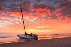 Nord Carolina esterna delle banche della spiaggia di Hatteras del naufragio di alba Fotografia Stock Libera da Diritti