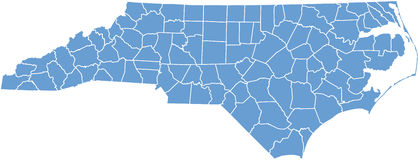 Nord-Carolinakarte durch Grafschaften Stockfoto