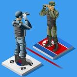 Nord contro il concetto Infographic di crisi della Corea del Sud illustrazione di stock