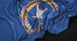 Nord-dunkler Hintergrund 3D Ren Mariana Islands Flag Wrinkled Ons Lizenzfreies Stockfoto