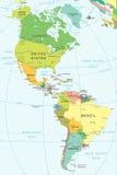 Nord ed il Sudamerica - mappa - illustrazione Fotografia Stock Libera da Diritti