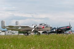 Nord för tappning för världskrig II - flygplan för amerikan B-25 Mitchell Bomber fungerings av flygatjursamlingen royaltyfri foto