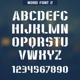 Nord font 2. Stencil-plate font and numeral on blurred background Royalty Free Stock Photos