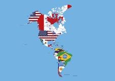 Nord, milieu et noms de carte de drapeaux de l'Amérique du Sud  Images stock