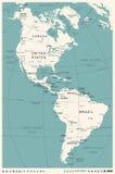 Nord och Sydamerika översikt - tappningvektorillustration vektor illustrationer