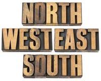 Nord, Ost, Süd, Westen im hölzernen Typen Stockfotos