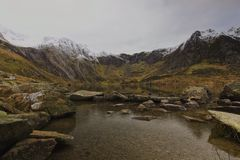 Nord Pays de Galles de Snowdonia de cuisine de diables de Cwm Idwal photos libres de droits