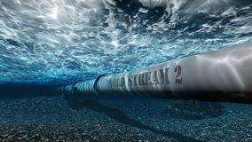 Nord stream 2. Gas pipe Nord stream 2 under water 3D royalty free illustration