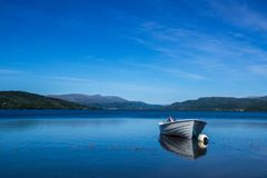 Holiday trip by camper in Norway; Walk on the lake Stock Photography