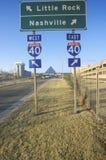 Nord und Süd-Autobahnzeichen der Autobahn-75 nach Nashville oder Little Rock lizenzfreie stockbilder