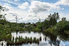 Nord wioska przy latem, trawa, kwiaty, drewniany ogrodzenie Obraz Royalty Free