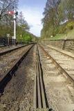 Nord-York macht Bahngleis, Yorkshire, England fest Lizenzfreies Stockbild