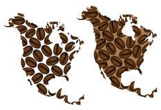 Nordamerika - översikt av kaffebönan vektor illustrationer