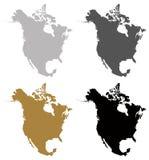 Nordamerika översikt - kontinent vektor illustrationer