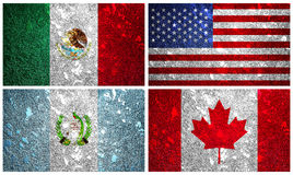 Nordamerika-Flaggen Lizenzfreies Stockbild