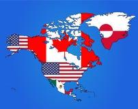Nordamerika-Flaggen-Karte Lizenzfreie Stockbilder