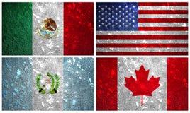 Nordamerika flaggor Royaltyfri Bild