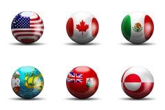 Nordamerika flaggor Arkivfoto