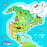Nordamerika isometrisk översikt med flora och faunor stock illustrationer