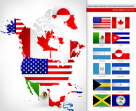 Nordamerika-Karte mit Flaggen Stockfotos