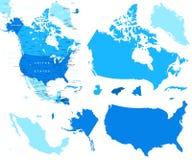 Nordamerika-Karten- und -landkonturen - Illustration Lizenzfreie Stockbilder