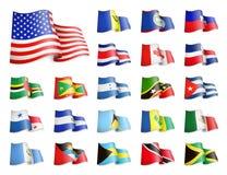 Nordamerika kennzeichnet Sammlung Wellenartig bewegende Flaggen Vektor Abbildung