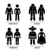 Nordamerika-Kleidungs-Kostüm Stockbilder