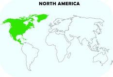 Nordamerika kontinent i världskarta stock illustrationer
