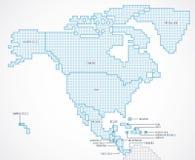 Nordamerika kontinent med avskilda tillstånd vektor illustrationer