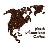 Nordamerika kontinent som göras från kaffebönor Amerikansk kaffebokstäver vektor illustrationer