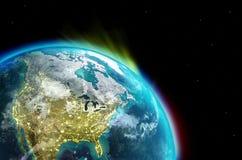 Nordamerika kontinent tillsammans med stadsljus från yttre rymd stock illustrationer