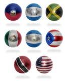 Nordamerika länder (från H till U) sjunker bollar Arkivfoto