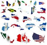 Nordamerika länder sjunker kartlägger stock illustrationer