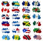 Nordamerika länder sjunker plumpar Arkivbilder