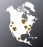 Nordamerika mit den Zeichen der Strahlung Stockfoto