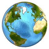 Nordamerika och europeisk kontinent på jord Arkivbild