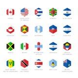 Nordamerika och karibiska flaggasymboler Sexhörningslägenhetdesign Arkivfoto