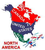 Nordamerika-politische Karte Stockfotos