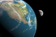 Nordamerika und Mond, keine Sterne Lizenzfreies Stockbild