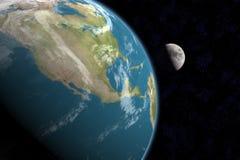 Nordamerika und Mond, mit Sternen lizenzfreie abbildung
