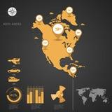 NORDAMERIKA-Weltkarte Lizenzfreies Stockbild