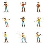 Nordamerikanischer Cowboy-With Different Accessories-Satz Zeichentrickfilm-Figuren, moderne Westvieh-Hürdenspringer herein Stockbild