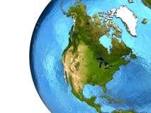 Nordamerikanischer Kontinent auf Erde Stockbilder